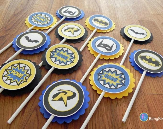 Batman & Robin Cupcake Toppers - super hero batman robin comic birthday party decorations blue black yellow superhero