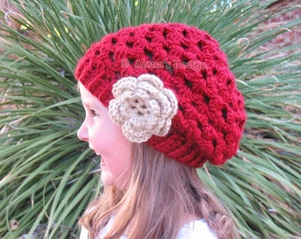 Crochet Pattern 057 - Crochet Hat Pattern - Hat Crochet Pattern for Mary Slouchy Hat - Toddler Child Teen Adult Ladies Women Beret Lace Hat