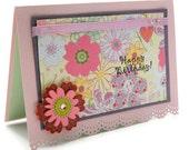 Floral Birthday Card - Pink Flower Birthday Card - Springtime Flower Birthday Card - Happy Bday Greeting Card - Birthday Love Card
