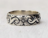 Sterling Silver Boho Floral Band - Wide Band - Swirl Ring - Patterned Band - Handcrafted - Metalwork - Wedding Band -  Gift For Her