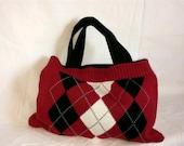 Upcycled Argyle Sweater Bag