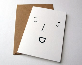 Smile Greetings Card / Type Face (A7 size, blank inside)