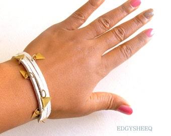 White Leather Bracelet, Charm Bracelet, Brass Triangle Charm Leather Cuff Bracelet, Half Chain Bracelet, White and Gold Stacking Bracelet