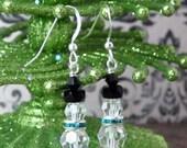 Swarovksi Crystal Snowman Earring Kit Crystal Clear with Aqua Crystal Scarf