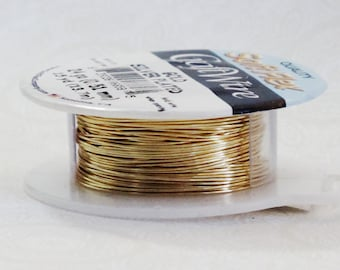 24 gauge Non Tarnish Gold Plated Fine Silver Plate Wire Spool 15 Yards