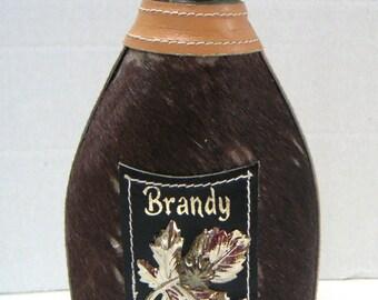 Vintage Flask,Brandy,Leather Bound Glass Flask,Birthday Gift,Valentine's Day Gift,Best Man Gift,Gifts For Him,Keepsake