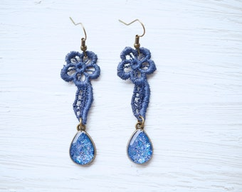 Blue Glitter and Lace Earrings