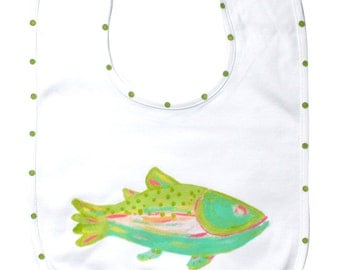 Rainbow Trout Fish Baby Bib ...may be personalized