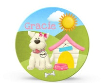 Kids Personalized Plate - Puppy Dog Girl Melamine Plate - Personalized Plastic 10 inch Plate  - Plastic Plate for Kids