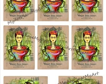 ATC, Artist Trading Card, Frida, Digital Download Frida, Vintage Frida, Collage Sheet Frida
