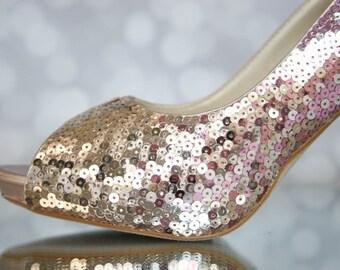 Wedding Shoes -- Ombre Sequin Bridal Shoes