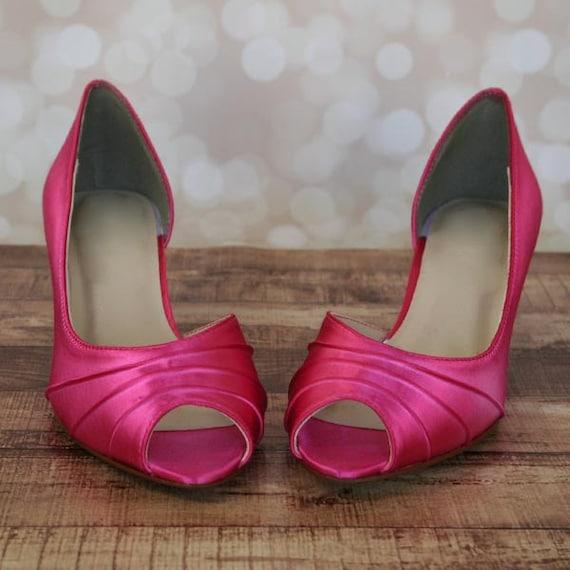 Custom Wedding Shoes Fuschia Kitten Heel Peep Toe Wedding