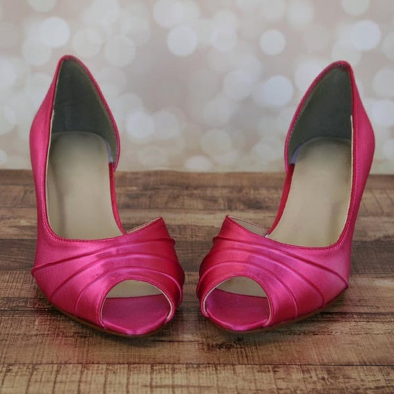 Fuschia Wedding Shoes: Custom Wedding Shoes Fuschia Kitten Heel Peep Toe Wedding