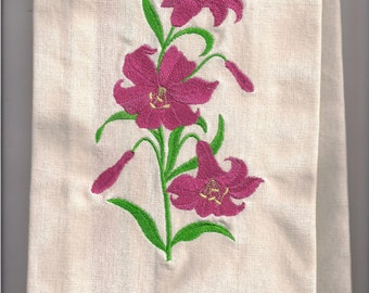 New Kitchen Tea Towel with Daylilies embroidered