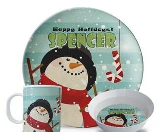 Childrens Christmas Plate Set, Personalized Snowman, Melamine Plate, Bowl, Mug Set, Candy Cane, Happy Holiday Melamine Plate Set