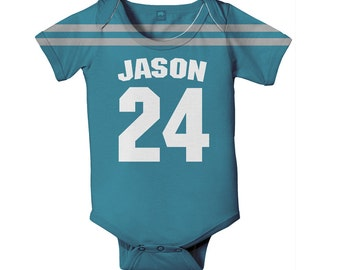 Baby Football Jersey One Piece, Personalized Jersey Style Custom Bodysuit, Choose Team Colors and Names
