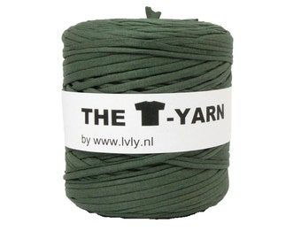 The t-shirt yarn 120-135 yards, 100% recycled cotton tricot yarn, green 51