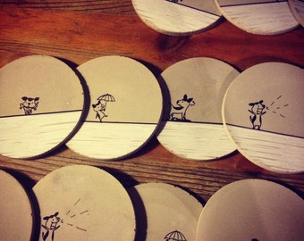 Concrete Coasters- Dog Series, Animal and Pet Lover, Gift under 50, Wedding Gift, Housewarming Gift, Functional Art, Dog Lover
