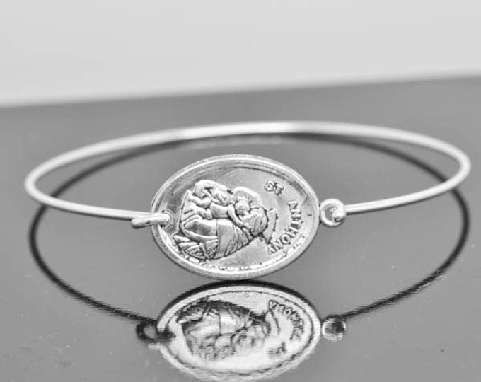 St Anthony Bangle, St Anthony Jewelry, St Anthony Bracelet, Sterling Silver Bangle, Bracelet, Christian Jewelry, Catholic Jewelry