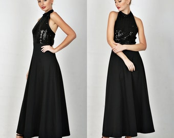 Vintage 70s 80s Black Mod Cocktail Party Dress Halter