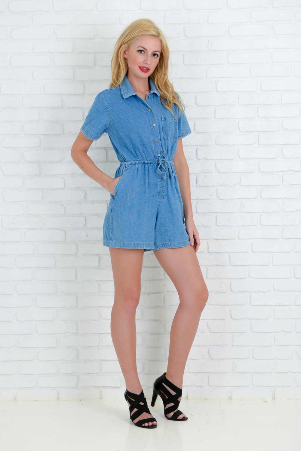 Vintage 80s 90s Denim Blue Jean Romper Shorts By Thekissingtree