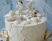 Seahorse wedding cake topper-bride and groom-resin-white seahorse-theme-beach wedding-destination wedding-kissing-nautical wedding-ivory