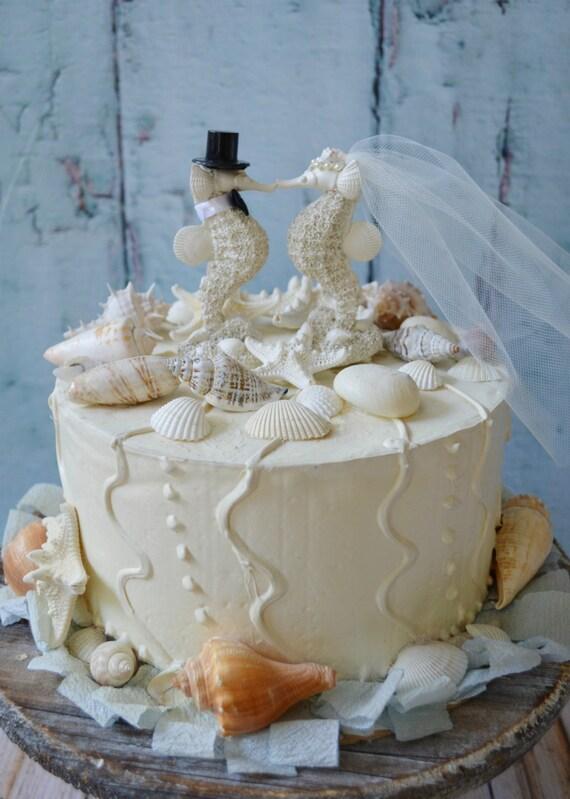 Beach Theme Wedding Photo Albums : Seahorse wedding cake topper bride and groom resin white