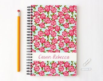 Custom Notebook Personalized Journal Pink and Turquoise Rose Pattern Preppy Flower Lilly Pulitzer Inspired School Supplies Bridesmaids Gifts
