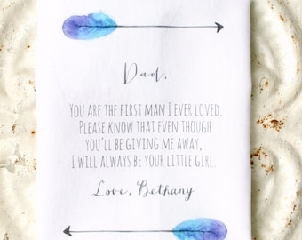 FATHER of the bride wedding handkerchief . gift . you are the first man I ever loved . always your little girl cotton wedding hankie . hanky