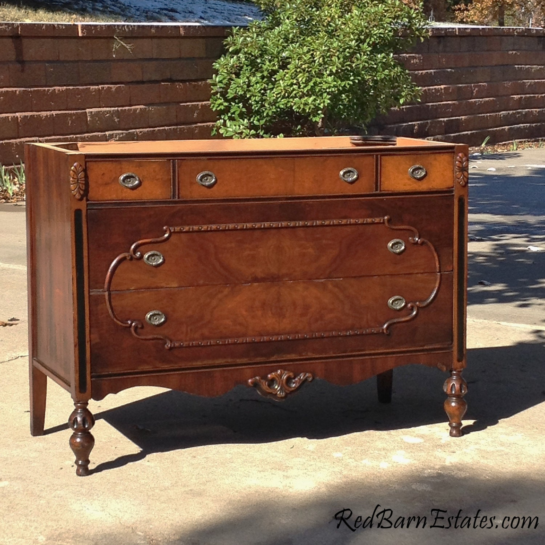 Antique dresser bath vanity wood finish dresser - Bathroom vanities made from old dressers ...