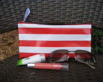 Zippered Oil Cloth Pouch-White with Red Horizontal Stripes Cosmetic Bag--Purse Organizer--Pencil pouch