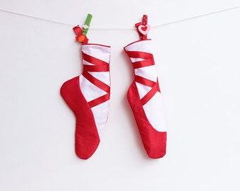 The RED SHOES Christmas Stockings pattern Pdf, Girl Ballet Dancer Gift, Baby Toddler Children Adults Gift