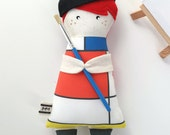"Art doll - Mondrian, ""Mini Mondrian"" cloth doll"