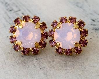 Pink opal earrings, pink opal crystal halo stud earring, Swarovski earrings, Bridesmaid earrings, blush pink stud earrings, bridal earrings