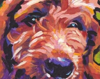 "Red Golden Doodle art print of pop dog art painting bright colors 8.5x11"" LEA"