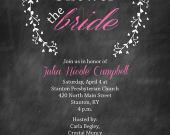 Chalkboard Bridal Shower Invitations (Digital and Print Options)