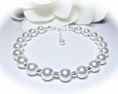 Pearl Bracelet - Pearl dot - Brides Bracelet  - Swarovski pearls and sterling silver dots - Extender - Timeless Jewelry - Bridal Jewelry -