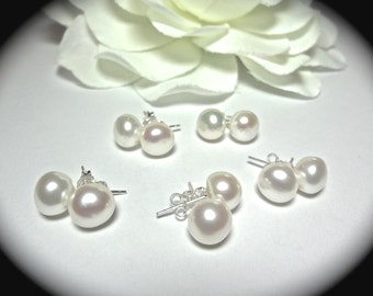 Pearl earrings - Freshwater - AA - 8-9mm - Sterling Silver - Studs- Bridal jewelry - Bridesmaids - Flower girl - gift - Bridal jewelry