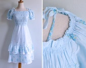 50% OFF - Vintage 70's Sky Blue Smocked, Ruffled & Tiered Dress XS S or M