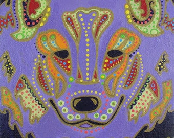 "Original Acrylic Painting of LAVENDER WOLF - 10""x8"" Large Bold Bright Acrylic with Gold Detailing on Stretched Canvas"