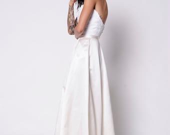 Silk Bridal Skirt. Chasing Sunrise Skirt. Bridal Silk Satin Full A-Line Skirt with Pockets. Custom Made to Order.