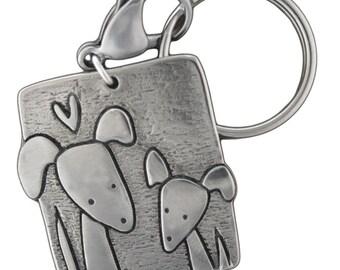 Family Dog Key Chain - Dog Family Key Ring - White Bronze Dog Keychain