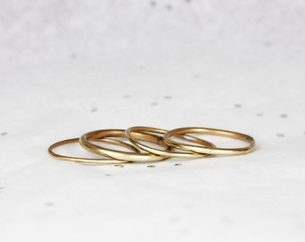 Midi Ring Set - Layering Rings -Knuckle Rings - Jeweler's Brass, Sterling Silver - Ring Sets - Stacking Rings
