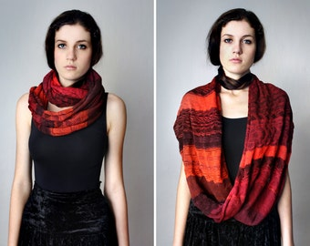 Oxblood Red Knit Infinity Scarf - Burgundy Red Garnet Chunky Shawl Handmade Striped Cowl Shrug Autumn Winter Circle Scarf Accessories