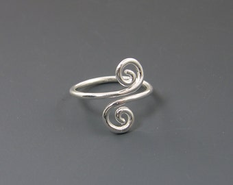 Sterling Silver Ring Adjustable Double Coil Spiral Ring |SR2-A sizes 5 6 7 8 9
