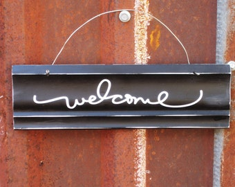 Welcome Sign - Welcome Door Sign - Black and White Welcome Sign - Housewarming Gift