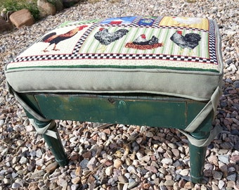 Footstool:  Vintage Green Painted Wood Footstool with New Tie-On Cushion. Chickens Patterned Fabric,