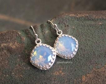 Blue Opal Earrings Silver Dangling Earring Moonstone Rhinestone Swarovski Crystal Gemstone Pastel Wedding Bridal Jewelry Bridesmaid Gift JW