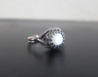 Moon Ring Oxidized Sterling Silver White Mother of Pearl Ring Modern Jewelry Gothic Victorian Vintage Style T1