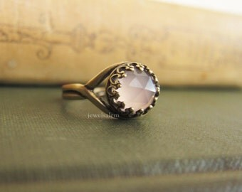 Pink Chalcedony Ring Light Blush Rose Pink Birthstone Gift Modern Jewelry Minimal Stacking Ring Sagittarius Birth Stone December November